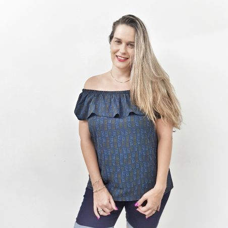 חולצת ריטה וולן כחול ופל- SALE
