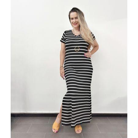 שמלת מקסי פסים- שחור לבן (SALE)