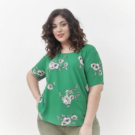 חולצת קרפ ירוק פרחים- SALE (אזל מהמלאי)