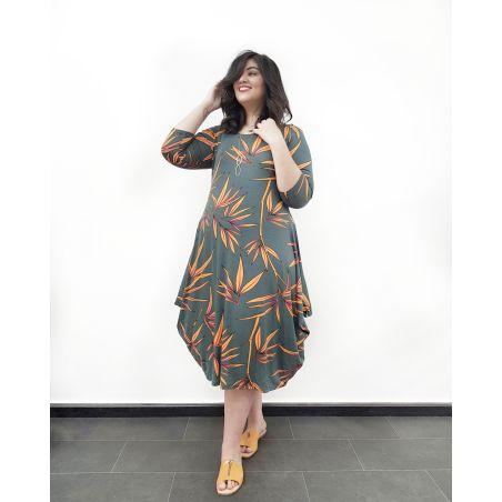 שמלת מעצבות אזניים- ירוק כתום פרחוני- HOT SALE