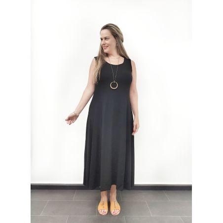 שמלת קלוש שרוולי גופיה שחור- SALE