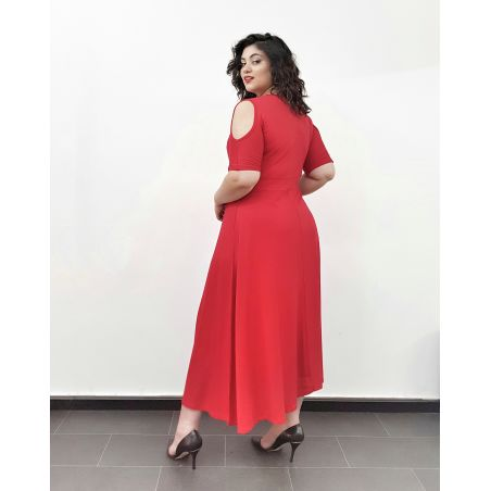 שמלת מקסי מעטפת אדום- SALE