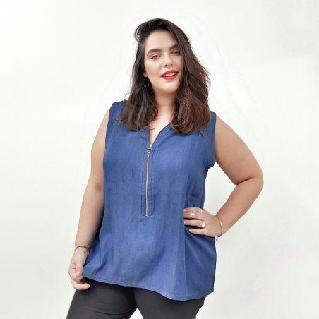טוניקת ג'ינס רוכסן כחול כהה- SALE