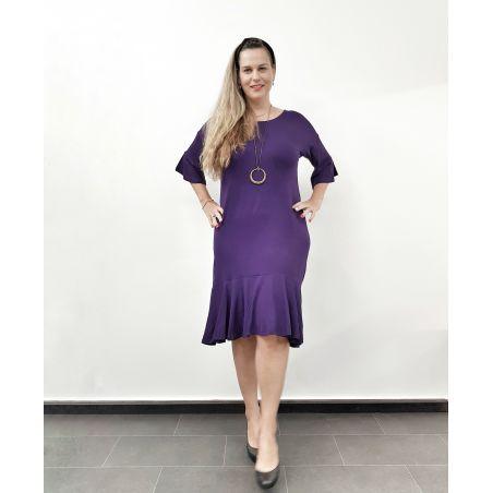 שמלה באורך מידי שרוולי פעמון- סגול- מידות אחרונות FINAL SALE