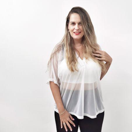 חולצת שיפון- לבן- SALE
