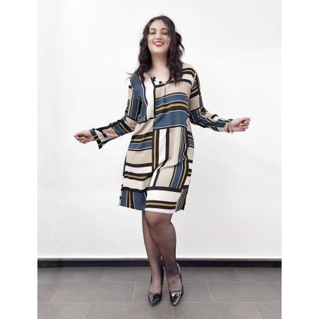 שמלת מיקס & מאץ- כחול חרדל- SALE