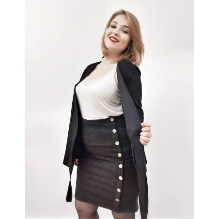חליפת דמוי זמש- שחור- SALE
