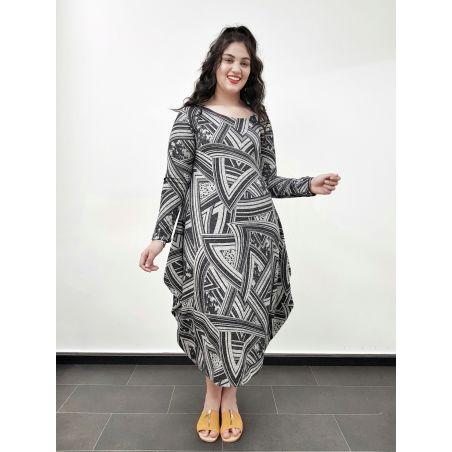 שמלת מעצבות אזניים- אפור גיאומטרי- SALE