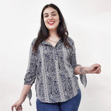 חולצת קרפ שרוולי קשירה 3/4-  כחול אתני- NEW COLLECTION