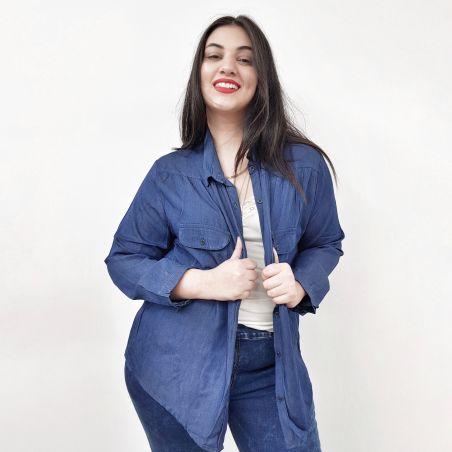 חולצת ג'ינס מכופתרת- כחול כהה- HOT SALE (אזל מהמלאי)