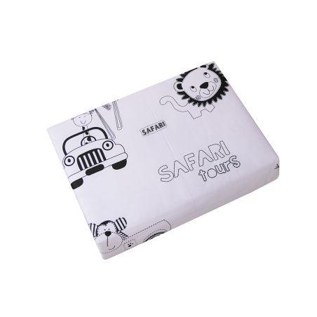 מצעים למיטת תינוק 100% כותנה - שחור לבן דגם ספארי