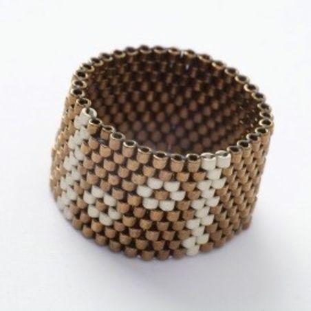 טבעת שחר | טבעת חרוזים | ברונזה & פרחים