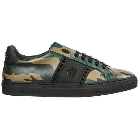 PHILIPP PLEIN- nubuck Lo-Top Sneakers Hexagon and Studs 