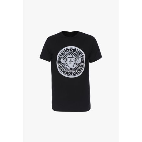 BALMAIN -  T-shirt With Balmain Medallion Print  -BLACK