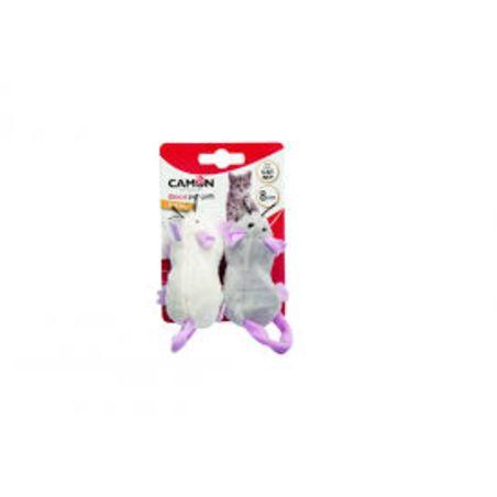 זוג עכברים 8 סמ עם כיס לקטניפ