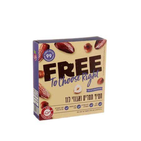 FREE פרי חטיף תמרים ואגוזי לוז - מארז 5 יחידות 25x גרם - כשל