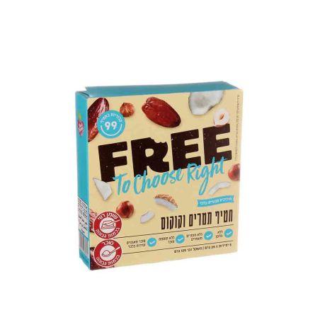 FREE פרי חטיף תמרים וקוקוס - מארז 5 יחידות 25x גרם - כשל