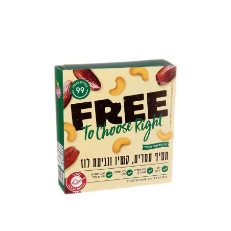 FREE פרי חטיף תמרים קשיו ונגיעות לוז - 5 יח' 25x גרם - כשל