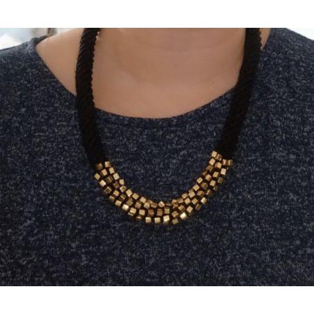 שרשרת אלישבע שחור / זהב