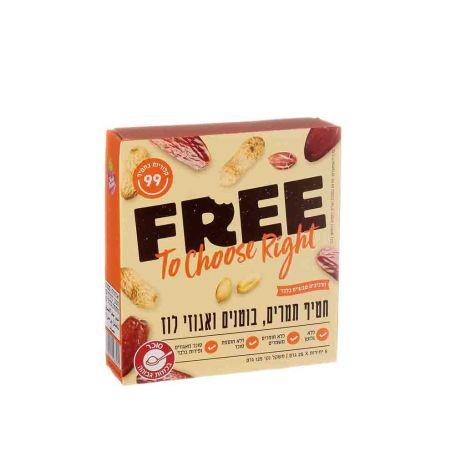 FREE פרי חטיף תמרים, בוטנים ואגוזי לוז - מארז 5 יחידות 25x גרם - כשל