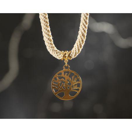 שרשרת דפנה | תכשיט תליון עץ חיים | תכשיט לבן שמנת & זהב