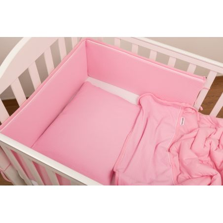 סט מלא למיטת תינוק|ג'רסי וופל ורוד מסטיק