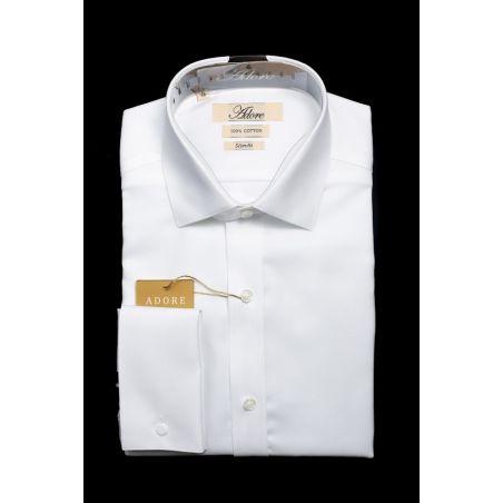 חולצה לבנה אדור תווית בז' סלים ללא כיס