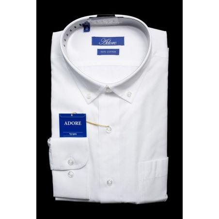 חולצה לבנה תווית כחולה גזרה רגילה עם כיס