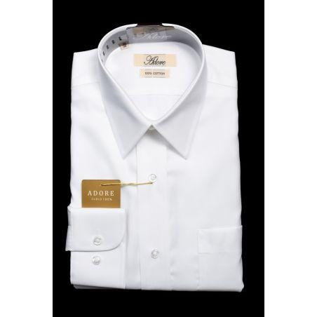 חולצה לבנה אדור תווית בז' גזרה רגילה עם כיס צווארון אמריקאי