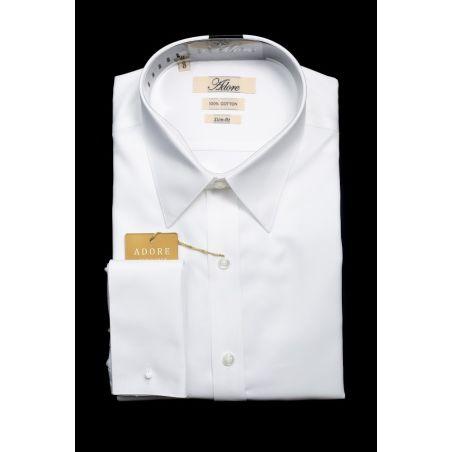 חולצה לבנה אדור תווית בז' סלים ללא כיס צווארון אמריקאי