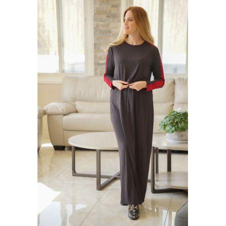 שמלת בית אפורה בשילוב קטיפה בורדו