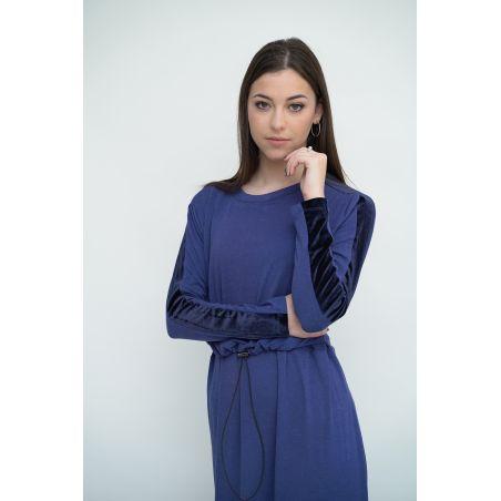 שמלת בית בשילוב קטיפה// כחול