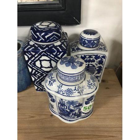 שלישיית חרס סיני כחול פלורליס