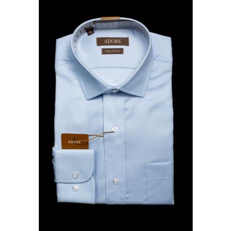 חולצה תכלת אדור תווית חומה גזרה רגילה עם כיס