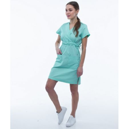 שמלת מדים עם שרוול קצר צבע טורקיז 133