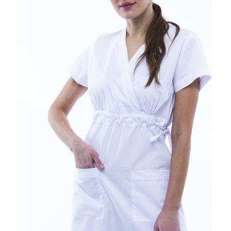 שמלת מדים עם שרוול קצר צבע לבן 133