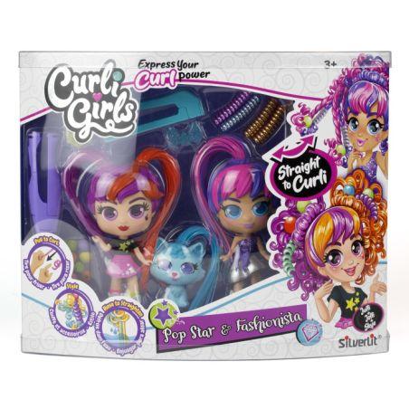 זוג בובות Curli Girls עם חיית מחמד ואביזרים