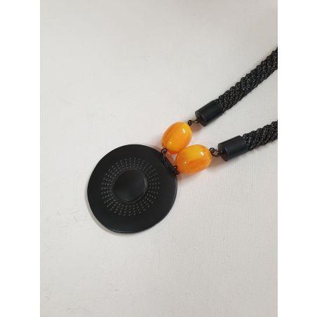 שרשרת שחור / צהוב / תליון שחור - עופרי