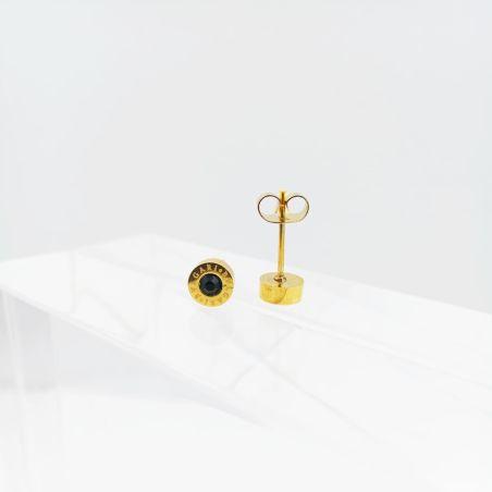 עגיל רומי זהב בשילוב אוניקס שחור