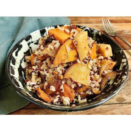 תבשיל אורז מלא, קינואה וירקות שורש צלויים - ליטר