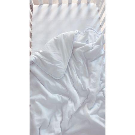 שמיכת קיץ למיטת תינוק | ג'רסי וופל לבן שלג