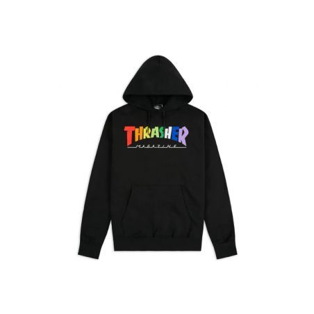 Thrasher - סווטשירט Rainbow Logo בשחור