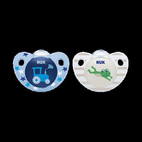 NUK זוג מוצצים אדור 6-18 ח' כחול