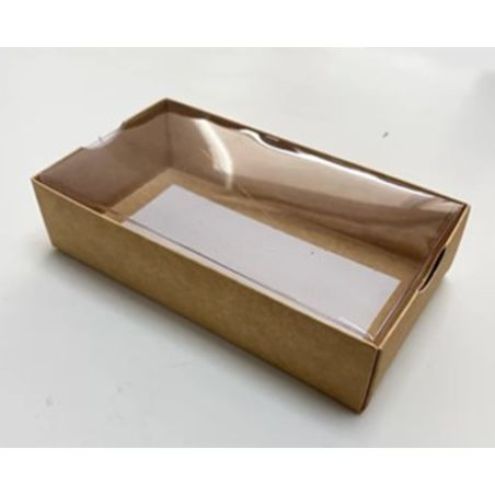 תחתית קרטון מכסה שקוף 16.5*9*4 בצבע חום - 10 יחידות