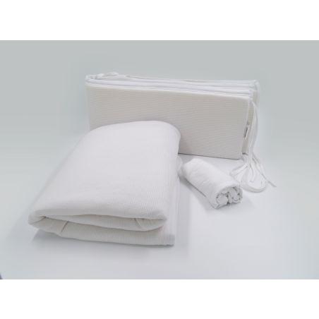 סט קיץ מלא למיטת תינוק | לבן שלג וופל
