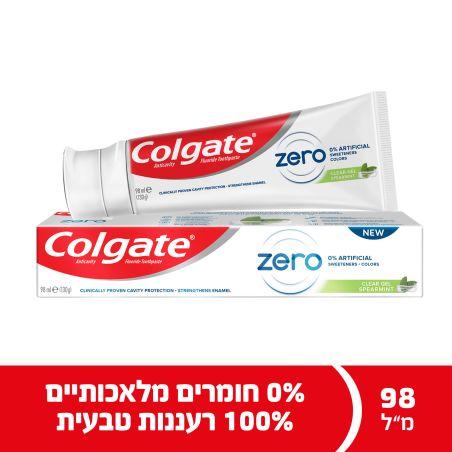קולגייט משחת שיניים זירו ספירמינט ללא חומרים מלאכותיים 98 מ