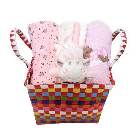 9# - מתנה לתינוקת המאושרת : שמיכה, קפוצ'ון מגבת, שלישיית חיתולי טטרה ורעשן טבעת בסל צבעוני קלוע