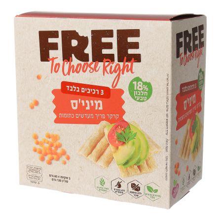 FREE פרי מיניס קרקר פריך מעדשים כתומות 120 גרם