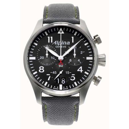 שעון Alpina Startimer Pilot Black Dial Grey Leather