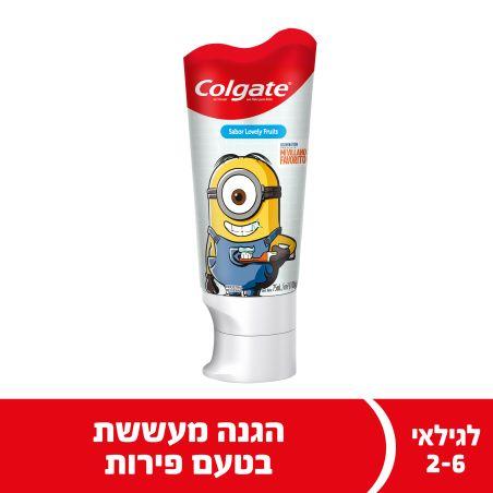 קולגייט משחת שיניים ילדים מיניונים לגילאי 2-6 להגנה על שיני החלב מפני עששת 75 מ'ל